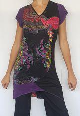 Robe d'été asymétrique Violette col V pas cher Chouri 302474