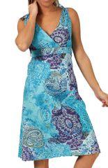 Robe d'été avec décolleté croisé Bleue Tendance et Imprimée Kuyil 285867