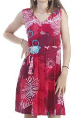 Robe d'été avec imprimé floral sans manche fuchsia Joncquille 296643