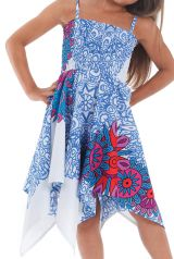 Robe d'été Blanche et Bleue pour Fille Originale et Asymétrique Pégase 280466
