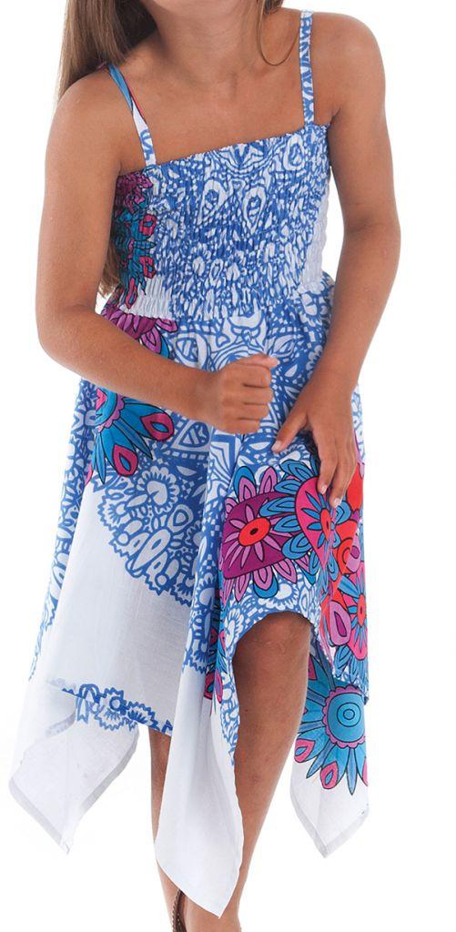 Robe d'été Blanche et Bleue pour Fille Originale et Asymétrique Pégase 280467
