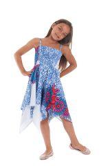 Robe d'été Blanche et Bleue pour Fille Originale et Asymétrique Pégase 280468