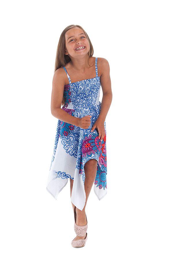 Robe d'été Blanche et Bleue pour Fille Originale et Asymétrique Pégase 280469