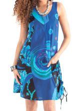Robe d'été Bleue à col collier Ethnique et Originale Carlita 281330