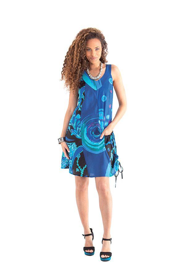 robe d ete bleue a col collier ethnique et originale carlita. Black Bedroom Furniture Sets. Home Design Ideas
