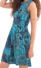 Robe d'été Bleue à plis Originale et Ethnique Adelise 282111