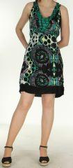 Robe d'été col en v imprimée Funnys Verte 297002