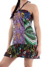 Robe d'été courte à dos nu en coton ethnique et originale Lalima 315061