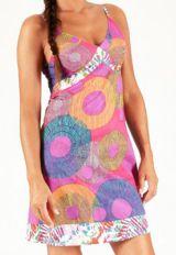 Robe d'été courte à fines bretelles Originale et Colorée Cooly Rose 283582