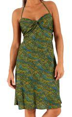 Robe d'été courte à tour de cou Originale et Féminine Gwenda Verte 284263