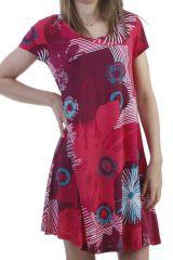 Robe d'été courte basique et ultra colorée avec imprimés fuchsia Anita 296803