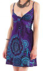 Robe d'été courte Chantal Ethnique et Originale Violette 281284