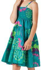Robe d'été courte Colorée et Originale Pétunia Verte 280606
