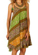 Robe d'été courte ethnique à fines bretelles Mandinari jaune 314608