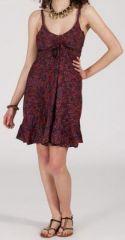 Robe d'été courte ethnique à motifs batik Bordeaux Lorene 272818