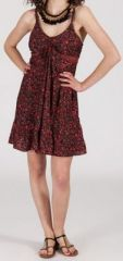 Robe d'été courte ethnique à motifs batik Bordeaux/Rouge Lorene 272822