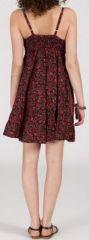 Robe d'été courte ethnique à motifs batik Bordeaux/Rouge Lorene 272823