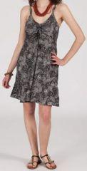 Robe d'été courte ethnique à motifs batik Noire/Blanche Lorene 272820