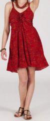 Robe d'été courte ethnique à motifs batik Rouge Lorene 272816