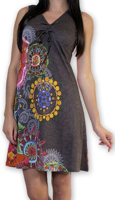 Robe d'été courte Ethnique et Colorée Alissa Grise 276605