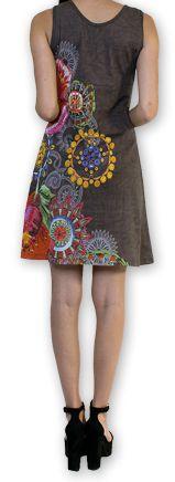 Robe d'été courte Ethnique et Colorée Alissa Grise 276608