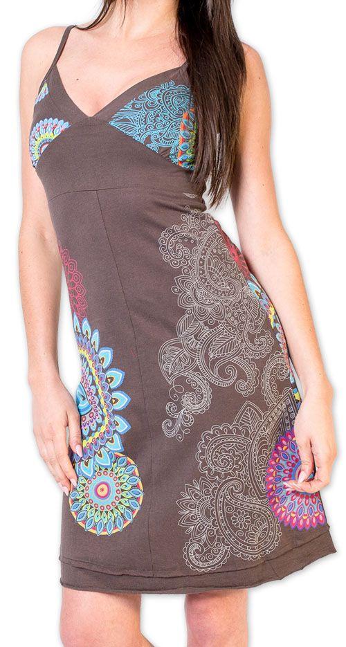 Robe d'été courte ethnique et colorée Grise Loua 273579