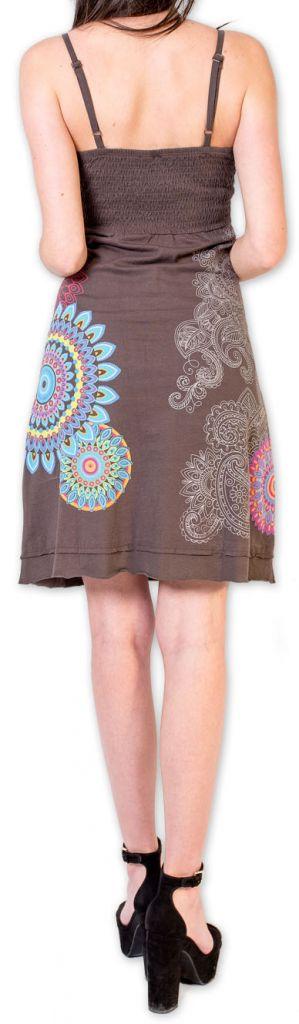 Robe d'été courte ethnique et colorée Grise Loua 273580