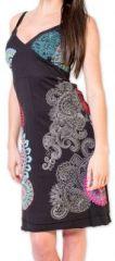 Robe d'été courte ethnique et colorée Noire Loua 273583