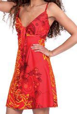 Robe d'été courte Ethnique et Originale Chantal Rouge 281278