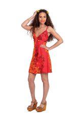 Robe d'été courte Ethnique et Originale Chantal Rouge 281279