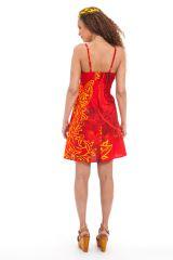 Robe d'été courte Ethnique et Originale Chantal Rouge 281280
