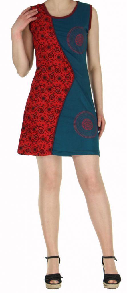 Robe d'été courte mode ethnique  Rouge/Noire/Bleue  Banita 3 272903