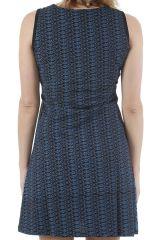 Robe d'été courte noire sans manches imprimée Yolanda 311035