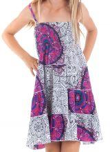Robe d'été courte Originale et Colorée Blanche et Rose Pétunia 280486