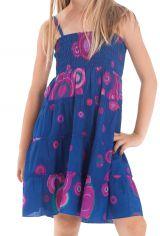 Robe d'été courte Originale et Colorée Indigo et Rose Pétunia 280488