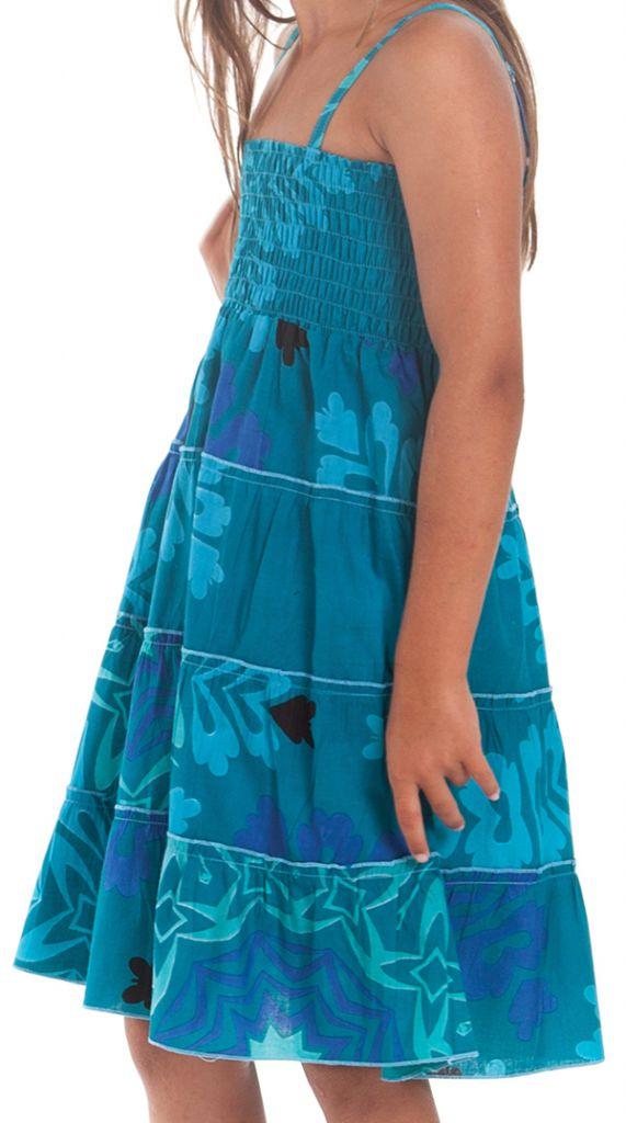 Robe d'été courte Originale et Colorée Pétunia Bleue Lagon 280496