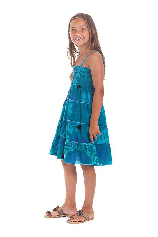 Robe d'été courte Originale et Colorée Pétunia Bleue Lagon 280499