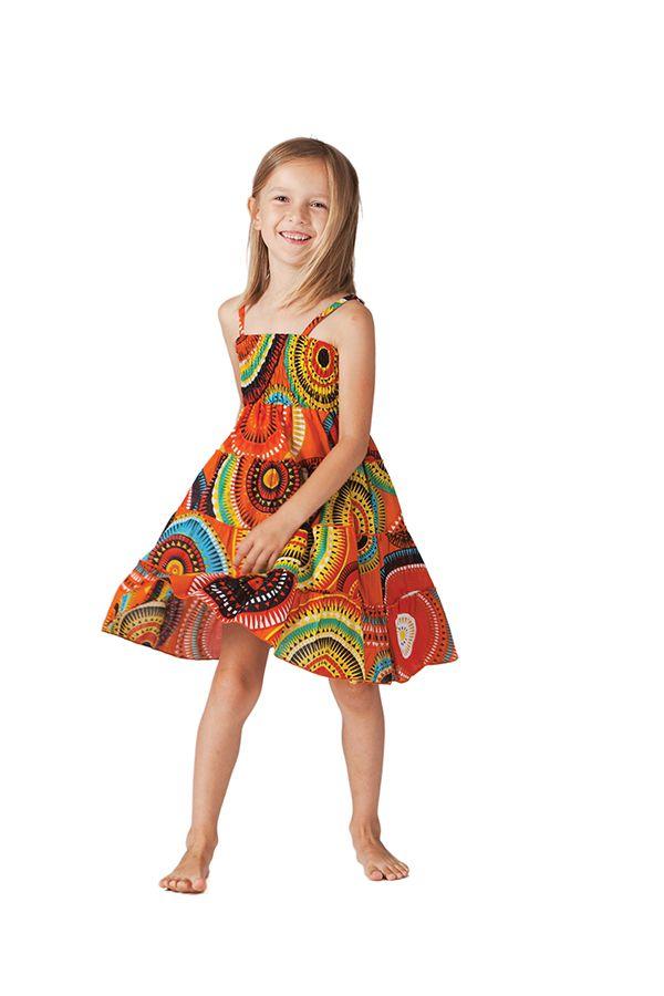 Robe d'été courte Originale et Colorée Pétunia Orange à Mandalas 280601