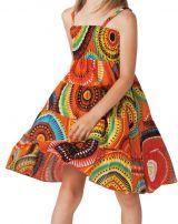 Robe d'été courte Originale et Colorée Pétunia Orange à Mandalas 313483