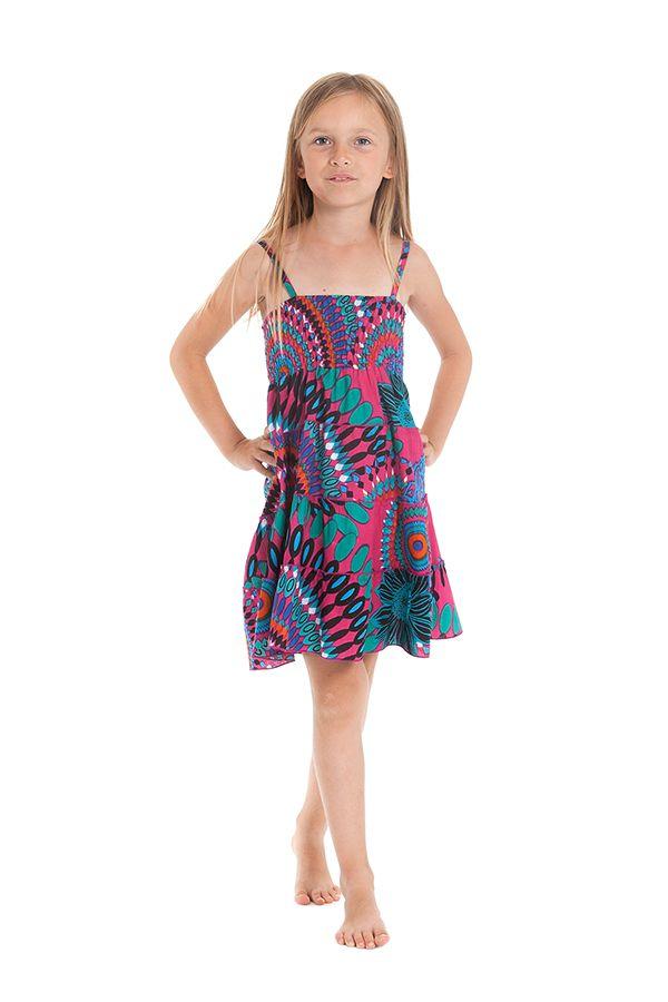 Robe d'été courte Originale et Colorée Pétunia Rose à Mandalas 280501