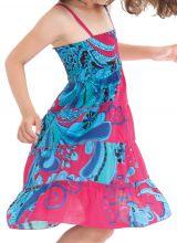 Robe d'été courte Originale et Colorée Pétunia Rose et Bleue 280476