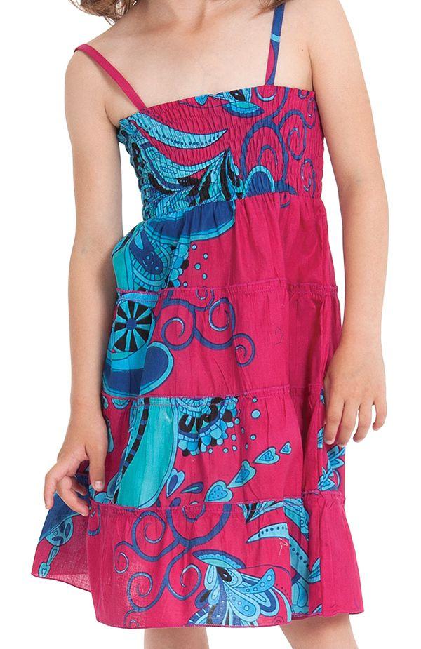 Robe d'été courte Originale et Colorée Pétunia Rose et Bleue 280477