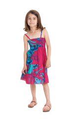 Robe d'été courte Originale et Colorée Pétunia Rose et Bleue 280478