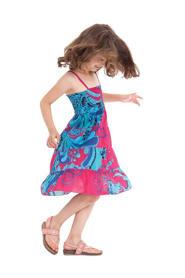 Robe d'été courte Originale et Colorée Pétunia Rose et Bleue 280479