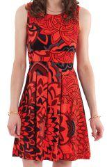 Robe d'été courte plissée Imprimée et Ethnique Adelise Rouge 282114
