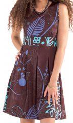 Robe d'été courte plissée Originale et Imprimée Adelise Marron 282102