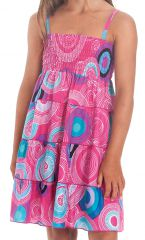 Robe d'été courte Rose à Cercles Originale et Colorée Pétunia 280506