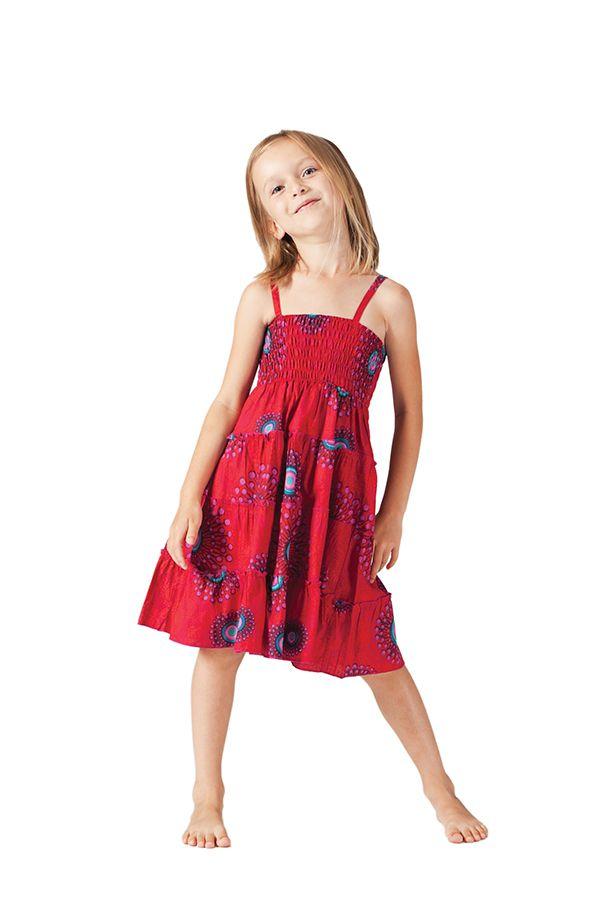 Robe d'été courte Rouge Originale et Colorée Pétunia 280603