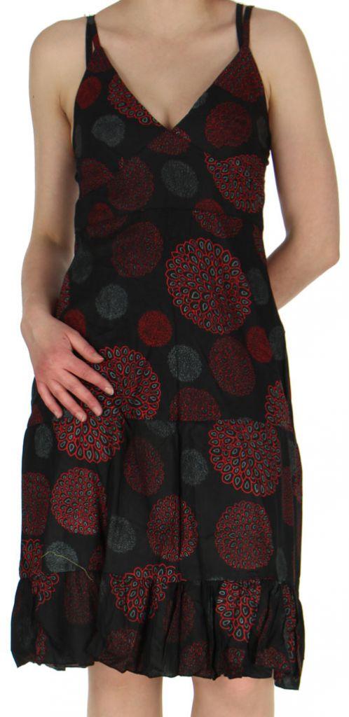 robe d ete ethnique et coloree a fines bretelles lucie noire. Black Bedroom Furniture Sets. Home Design Ideas