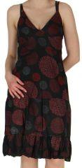 Robe d'été Ethnique et Colorée à fines bretelles Lucie Noire 279241